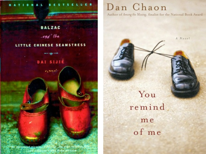 """There was a fad for empty shoes a while back that I liked while it lasted.  I liked the red shoes on Balzac and the Little Chinese Seamstress by Dai Sijie, but my favorite of these was Dan Chaon's You Remind Me of Me, which is also such a fantastic title.  The shoes on the Chaon cover are tied together."""
