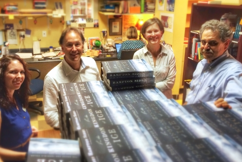 (L-R) Bookseller Cat Bock, Author Hampton Sides, Author & Parnassus Co-Owner Ann Patchett, and Store Manager Andy Brennan getting ready for an author/reader visit.