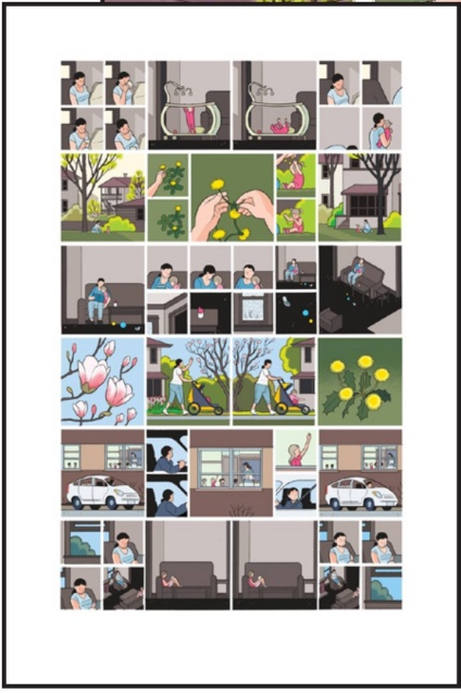 Original, signed, gallery quality print from Chris Ware. This wordless print about reading, parenting, and education consists of images from his award-winning Building: Stories.