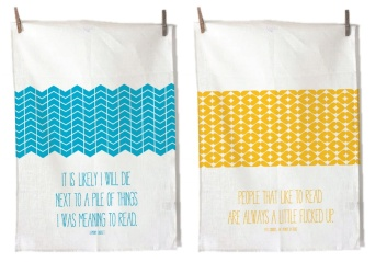 "100% cotton flour sack tea towels. ""Salty"" towels feature quotes from Lemony Snicket and Pat Conroy."