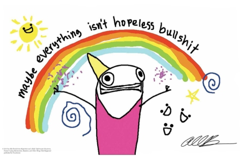 "Attention, all fans of Hyperbole and a Half: This color poster featuring an image from the famous ""Depression - Part 2"" chapter is signed by Allie Brosh herself!"